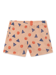 Pantaloncino salmone unisex stampe blu arancioni