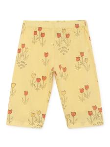 Pantalone giallo unisex stampe nere rosse