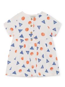 Vestito bianco bambina stampe blu arancioni