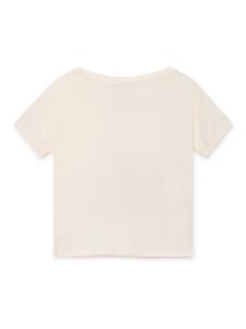 T-shirt panna ragazza stampa nera rosa
