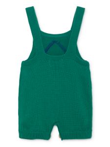 Salopette verde unisex ricamo blu