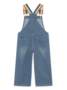 Salopette jeans unisex stampa blu rossa