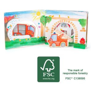 Libro illustrato interattivo per bambini in legno Pompieri