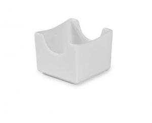 Porta bustine zucchero e thè  quadrato in porcellana bianca cm.7x7x5,5h