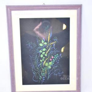 Dipinto Su Carta Nera Kaya 98 31*39 Cornice Viola