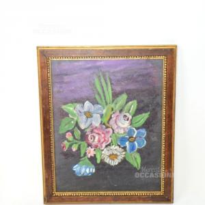 Dipinto Fiori 22*26cm Sfondo Scuro Cornice Marrone