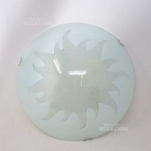 Plafoniera Sole Bianco Vetro
