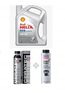 KIT Shell Helix HX8 Synt 5W/40 barattolo 4 Litri + Liquimoly Ceratec + Engine Flush