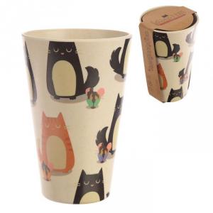 Bicchiere in Fibra di Bamboo con Gatti