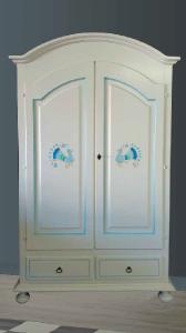 Armadio Curvo 2 ante +2 cassetti, laccato Bianco e pavoncella dipinta.