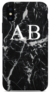 Cover Marble Black Edition Iniziali Bianche