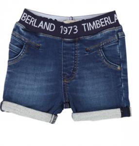 Pantaloncino di jeans blu scuro con scritta