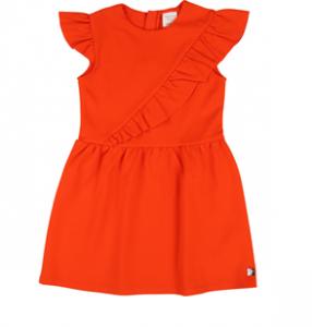 Vestito da cerimonia arancione smanicato e spalline con volant