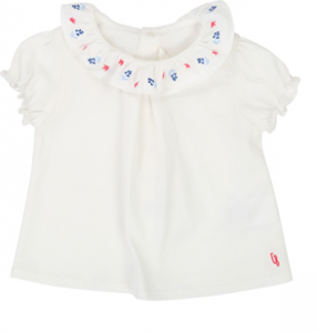 T-Shirt bianca con ricamo fiori blu e rossi