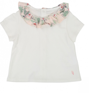 T-Shirt bianca con colletto rosa a fantasia fiori