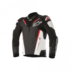 GIACCA MOTO IN PELLE ALPINESTARS ATEM V3 JACKET BLACK WHITE RED FLUO COD. 3106518