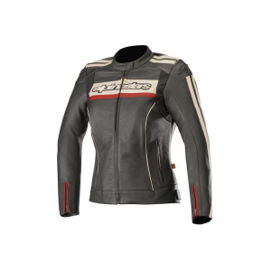 GIACCA MOTO IN PELLE ALPINESTARS STELLA DYNO V2 JACKET BLACK STONE RED COD. 3112518
