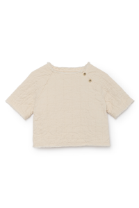 T-Shirt beige con bottoni laterali