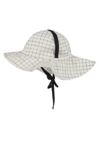 Cappello beige a quadri con laccio nero
