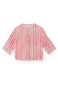 Camicia senza colletto a righe verticali