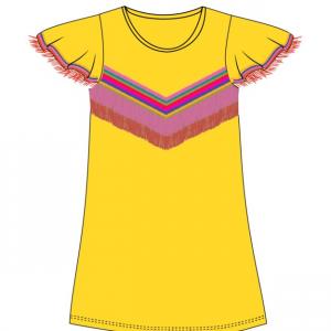 Vestito giallo con frange e stampa