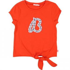 T-Shirt rossa con logo a strass e perline