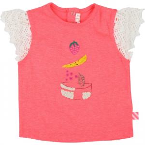 T-Shirt rosa con maniche in pizzo e fantasia frontale
