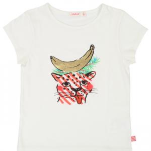 T-Shirt riso con stampa ghepardo e banana
