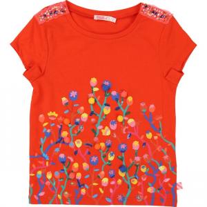 T-Shirt rossa con ricamo, perline, paillettes e pompon