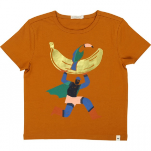 T-Shirt marrone con stampa supereroe multicolore