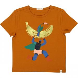 T-Shirt marrone con stampa supereroe multicolore