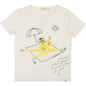 T-Shirt avorio con stampa banana gialla