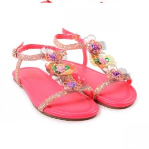 Sandali rosa con fiori e paillettes