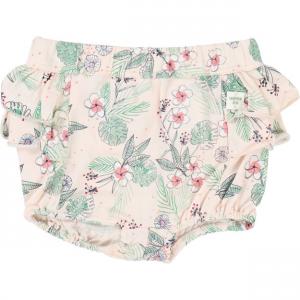 Pantaloncino rosa con stampa fiori bianchi e verdi
