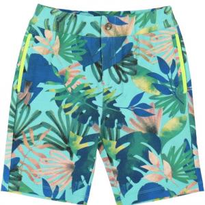 Pantaloncino multicolore con fantasia foglie