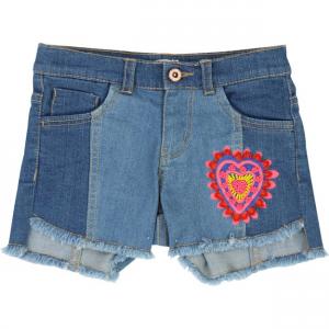 Pantaloncino di jeans con ricamo cuore