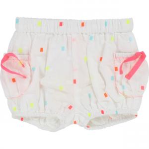 Pantaloncino bianco con fantasia a rettangoli colorati