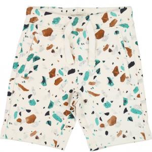 Pantaloncino beige con fantasia verde, nera e marrone