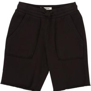 Pantaloncino a tuta nero con vita elasticizzata