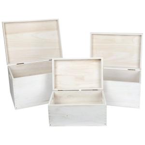 Casse Cassette di legno bianche con coperchio set 3 pezzi