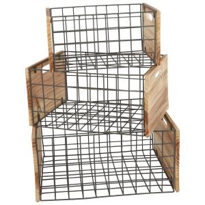 Casse Cassetta di legno reticolo dal design industriale 3 pezzi
