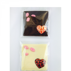 Milk chocolate or dark chocolate tablet with white chocolate heart, 50gr