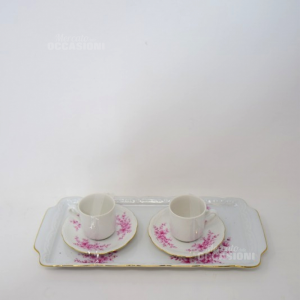 Set 2 Tazzine + Zuccheriera + Vassoio Ceramica Bianca