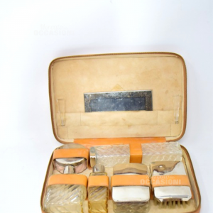 Set Beauty Da Viaggio Vintage In Pelle Completo