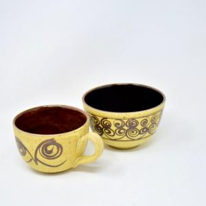 Set 2 Tazze Ceramica Ocra