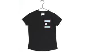 T-Shirt nera con stampa scritta multicolore