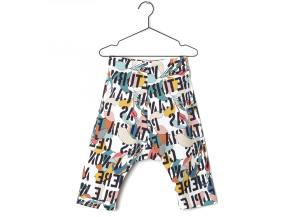 Pantalone con scritte e stampe multicolore
