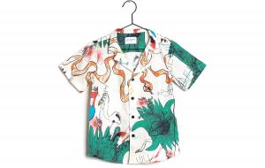 Camicia panna con stampe scritte e animali multicolore