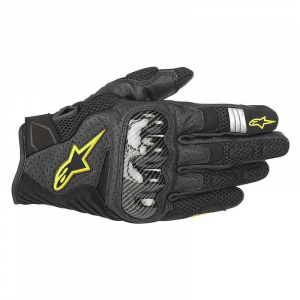 GUANTI MOTO IN PELLE ALPINESTARS SMX-1 AIR V2 BLACK YELLOW FLUO COD. 3570518