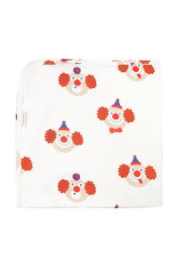 Coperta bianco sporco con stampe clown multicolore